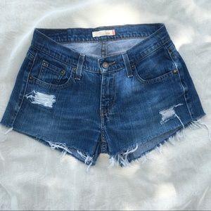 Levi's 529 Curvy Mid Rise Festival Cut Off Shorts